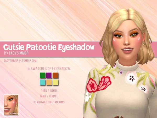 The Sims Resource: Cutesy Patootie Eyeshadow by LadySimmer94