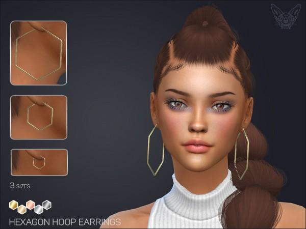 The Sims Resource: Hexagon Hoop Earrings Set by feyona