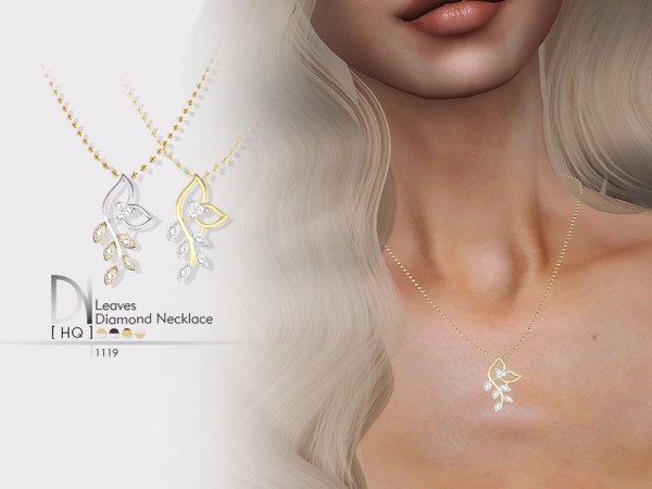 The Sims Resource: Leaves Diamond Necklace by DarkNighTt