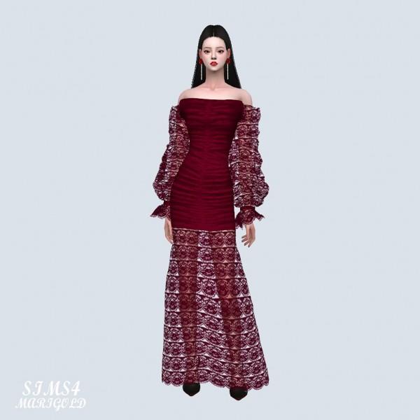 SIMS4 Marigold: Arm Mesh Off Shoulder Long Dress
