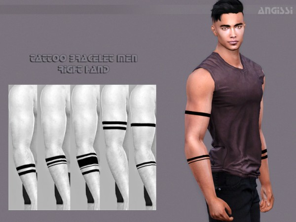 The Sims Resource: Tattoo bracelet men right hand by ANGISSI
