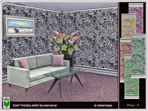 The Sims Resource: Swirl Paisley Walls by marcorse