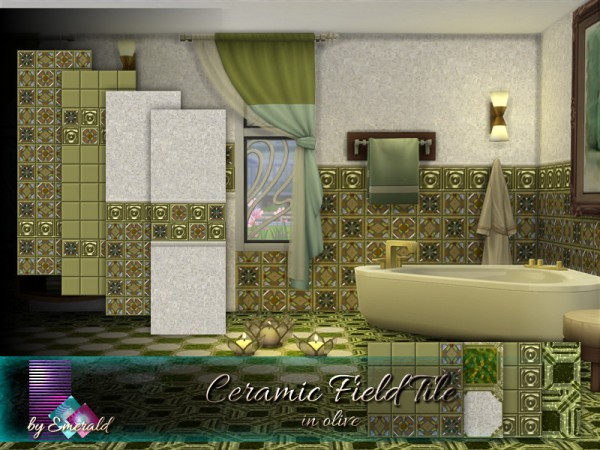 The Sims Resource: Ceramic Field Tile in olive by emerald