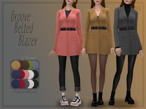 The Sims Resource: Groove Belted Blazer by Trillyke