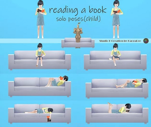 Studio K Creation: Reading a book pose and book acc (child)