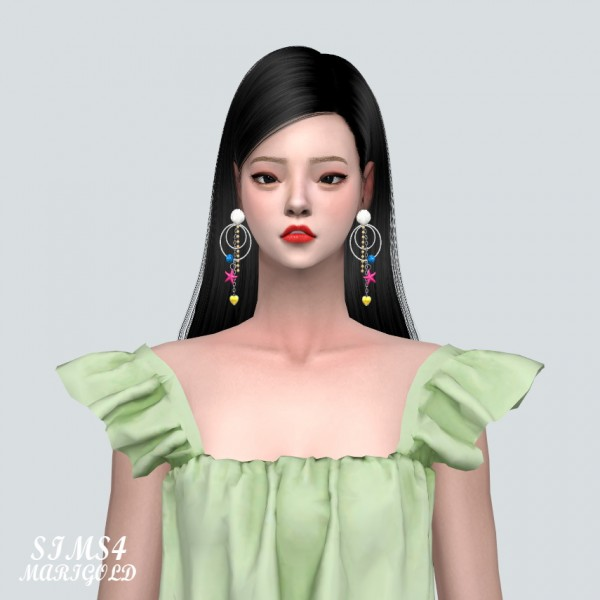 SIMS4 Marigold: Heart Sea Earring With Ring
