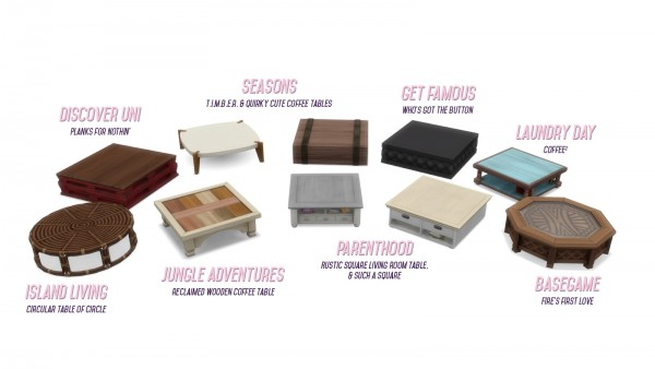 Simsational designs: Shrunken Square Coffee Tables Resized for more Usability