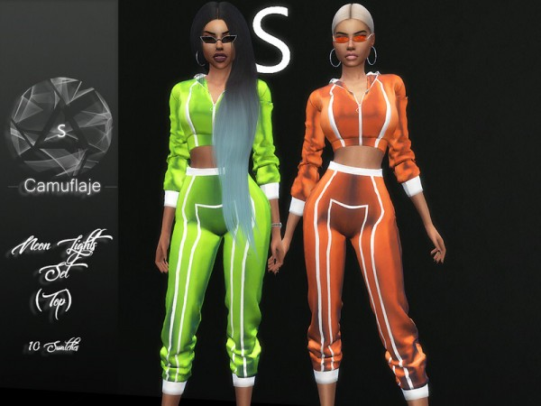 The Sims Resource: Neon Lights Top by Camuflaje