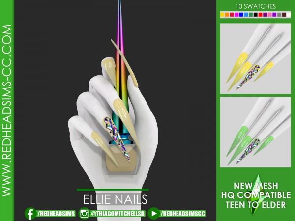 Red Head Sims: Ellie nails