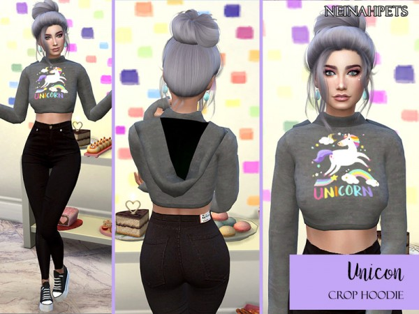 The Sims Resource: Unicorn Crop Top Hoodie by neinahpets