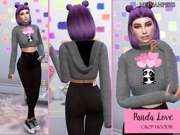 The Sims Resource: Panda Love Crop Top Hoodie by neinahpets