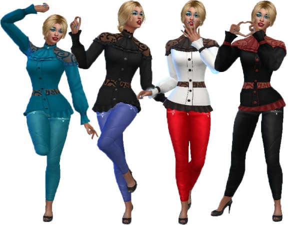 The Sims Resource: Lace top with denim pants by TrudieOpp