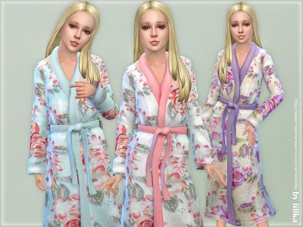 The Sims Resource: Fluffy Flower Bathrobe for Girls by lillka