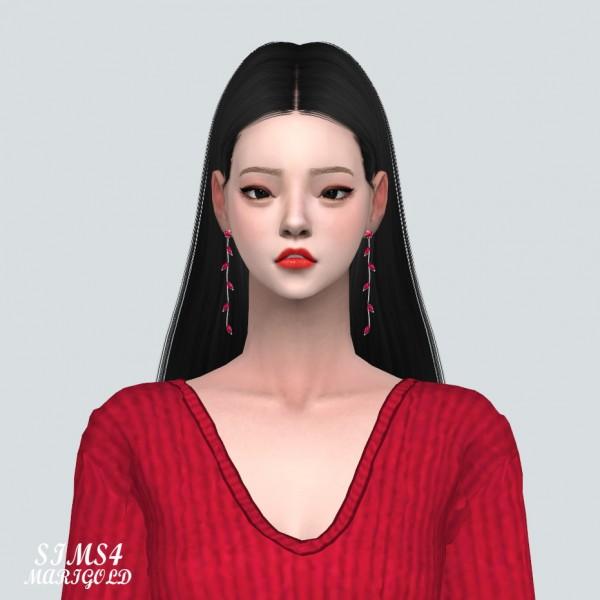 SIMS4 Marigold: Leaf Line Earrings