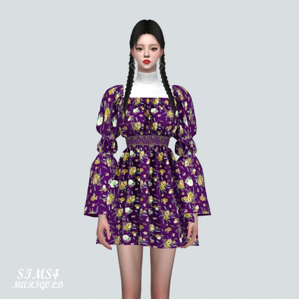 SIMS4 Marigold: Love Puff Sleeves Mini Dress With Turtle Neck