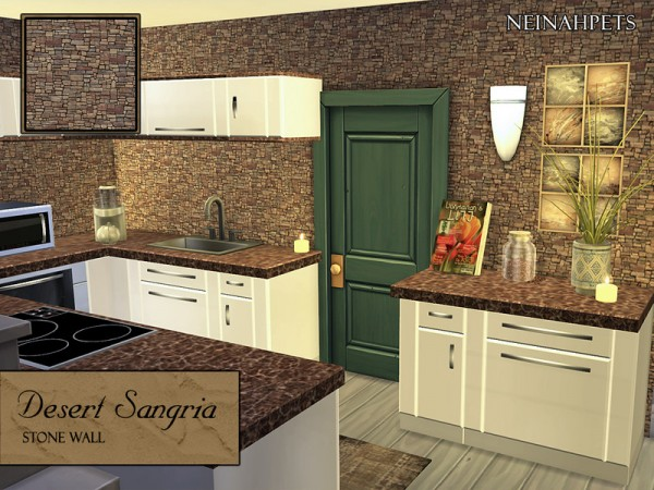 The Sims Resource: Desert Sangria Stone Wall by neinahpets