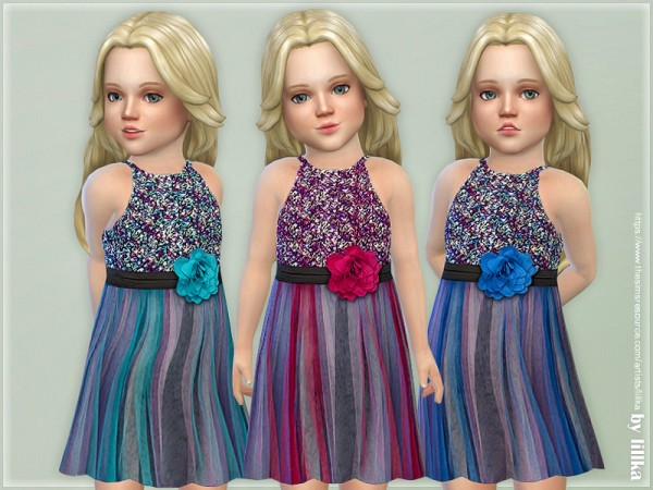 The Sims Resource: Sequin Overlay Dress by