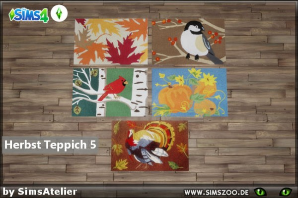 Blackys Sims 4 Zoo: Autumn carpet 5 by  SimsAtelier