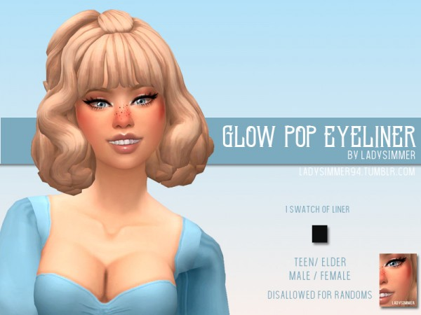 The Sims Resource: Glow Pop Eyeliner by LadySimmer94