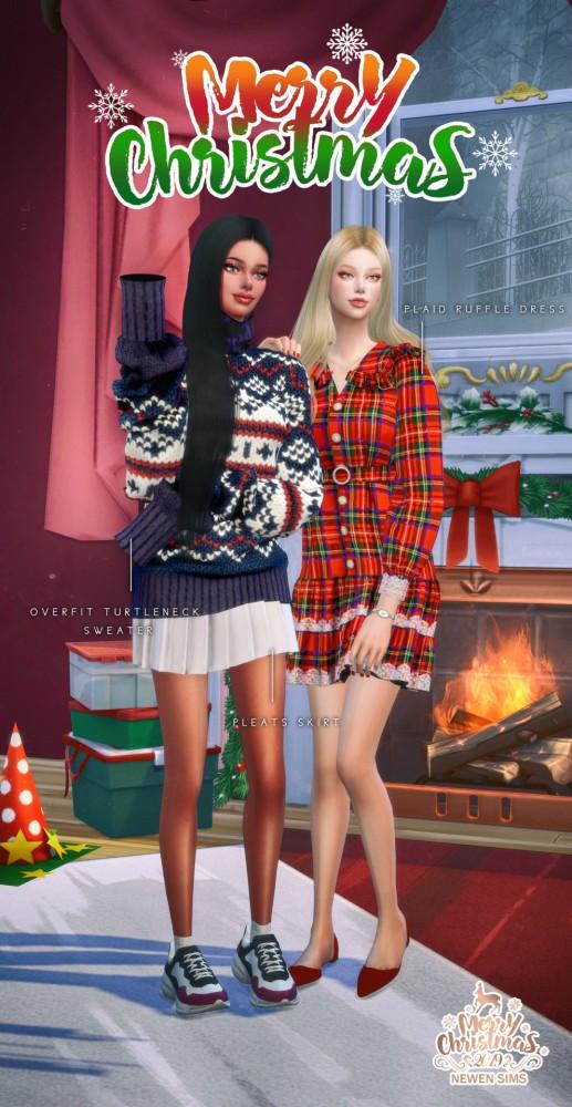 Newen: Overfit Turtleneck Sweter, Pleats Skirt and Plaid Ruffle Dress