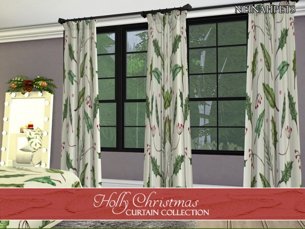 The Sims Resource: Holly Christmas Curtains by neinahpets