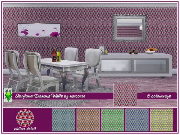 The Sims Resource: Starflower Diamonds Walls by marcorse