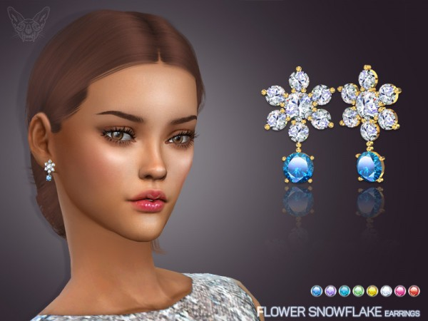 The Sims Resource: Flower Snowflake Earrings by feyona