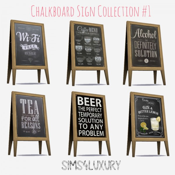 Sims4Luxury: Chalkboard Sign Collection 1