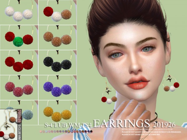 The Sims Resource: Earrings 201926 by S Club