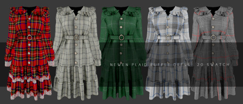 Newen: Overfit Turtleneck Sweter, Pleats Skirt and Plaid Ruffle Dress