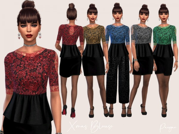 The Sims Resource: Xmas Blouse by Paogae