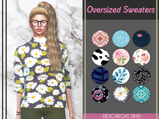 Descargas Sims: Oversized Sweaters