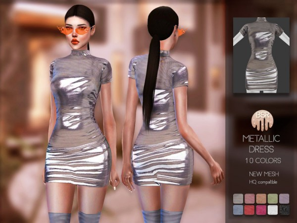The Sims Resource: Metallic Dress BD157