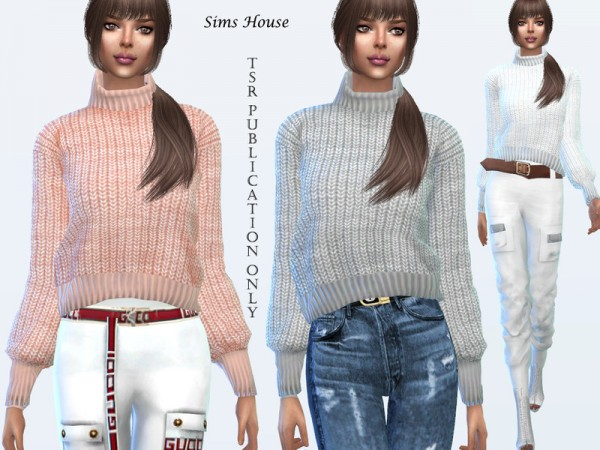 The Sims Resource: Womens sweater with a collar under the throat by Sims House