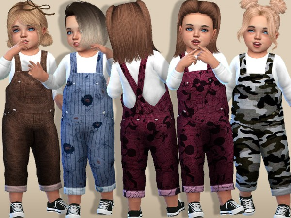 The Sims Resource: Cozy Denim Winter Overalls For Toddlers by Pinkzombiecupcakes