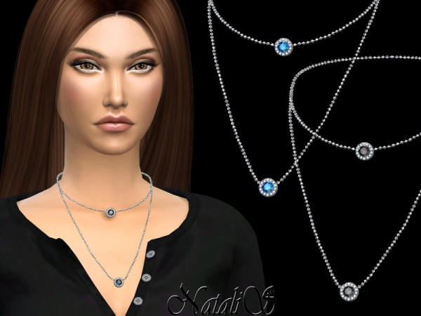 The Sims Resource: Diamond halo layered necklace by NataliS