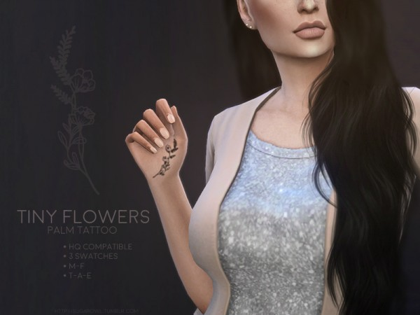 The Sims Resource: Tiny Flowers palm tattoo by sugar owl