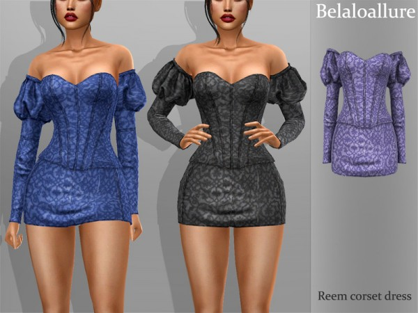 The Sims Resource: Reem corset dress by belal1997