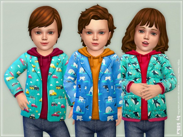 The Sims Resource: Printed Toddler Jacket 03 by lillka
