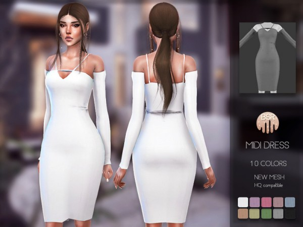 The Sims Resource: Midi Dress BD155 by busra tr