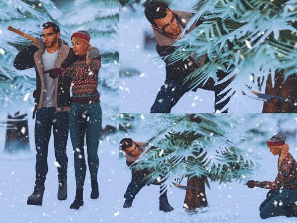 The Sims Resource: Christmas Tree Hunting Poses by KatVerseCC