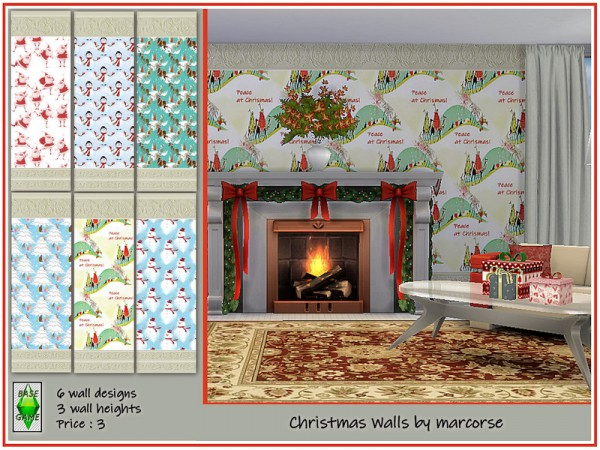 The Sims Resource: Christmas Walls by marcorse