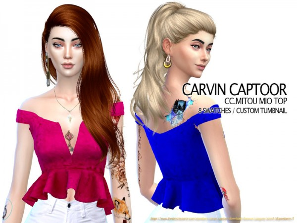 The Sims Resource: Mitou Mio top by carvin captoor