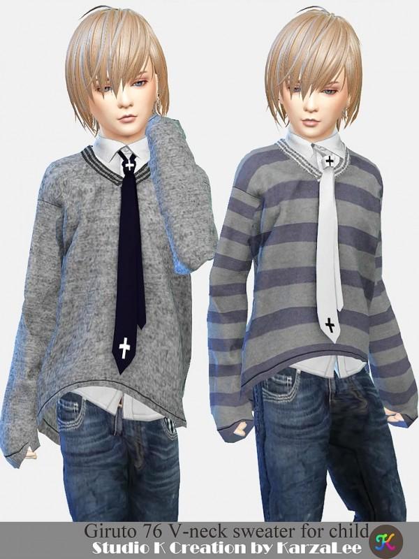 Studio K Creation: Giruto 76 V neck sweater for child