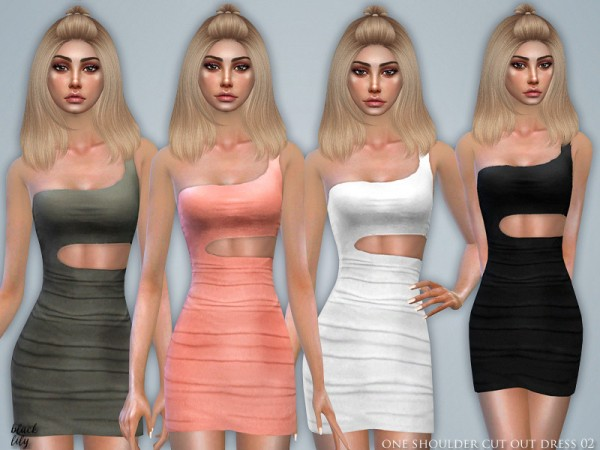 The Sims Resource: One Shoulder Cut Out Dress 02 by Black Lily