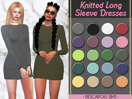 Descargas Sims: Knitted Long Sleeve Dresses
