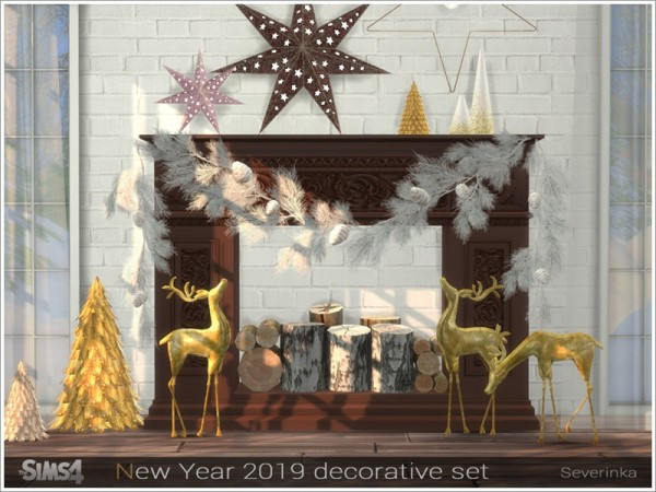 The Sims Resource: New Year 2019 decorative set by Severinka