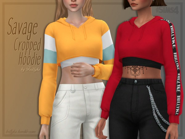 The Sims Resource: Savage Cropped Hoodie by Trillyke