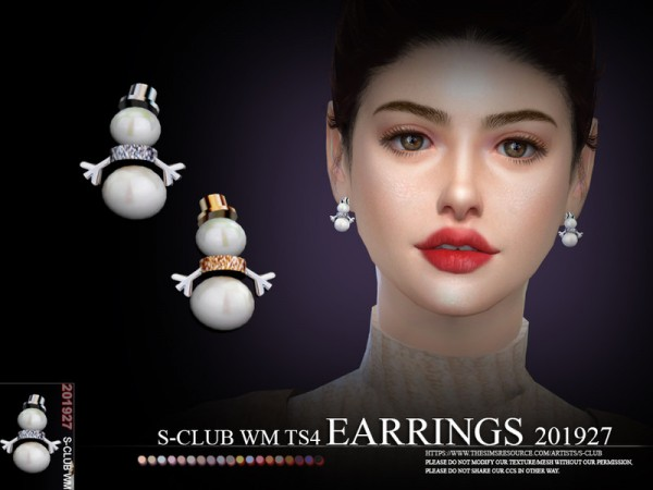 The Sims Resource: Earrings 201927 by S Club