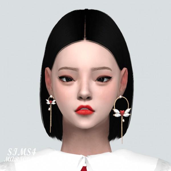 SIMS4 Marigold: Unbalance Heart Wing Chain Earring